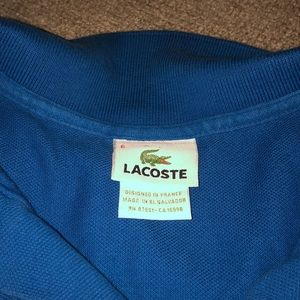 Lacoste Shirts - Lacoste size 6 /Large royal blue polo short sleeve
